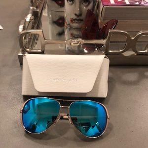 Michael Kors blue mirrored aviator sunglasses